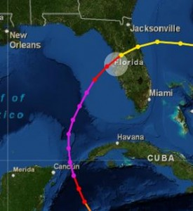 Track of the 1921 hurricane. It made landfall at Tarpon Springs.