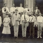 Members of the Koreshan Band in front of the Art Hall.